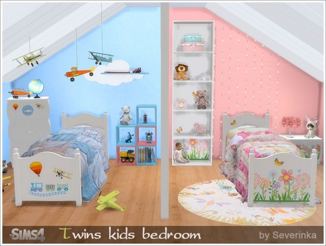 Twins kids bedroom at sims by severinka sims 4 updates for Rooms 4 kids