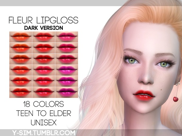 Sims 4 Fleur Lipgloss dark by Y Sim at TSR