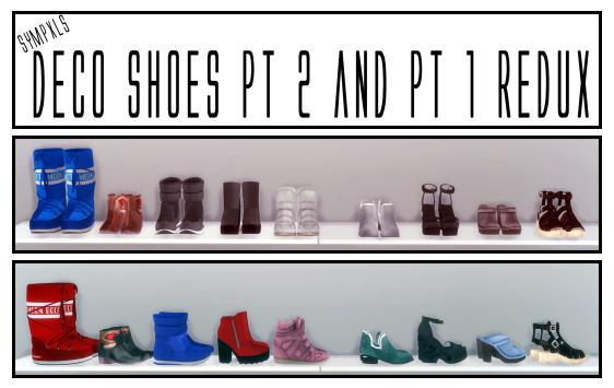 Sims 4 Deco Shoes Pt 2 by Sympxls at SimsWorkshop