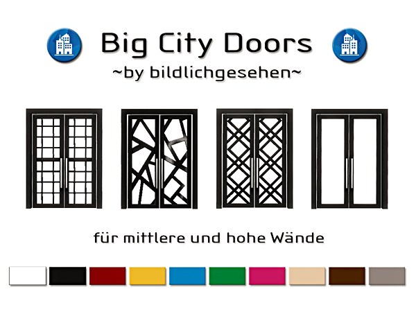 Sims 4 Big City Doors at Akisima