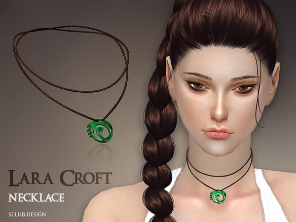 Sims 4 MK Lara Croft Necklace by S Club at TSR