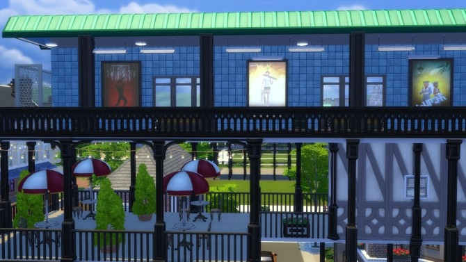 Sims 4 The Elevated Train and Shops by Snowhaze at Mod The Sims