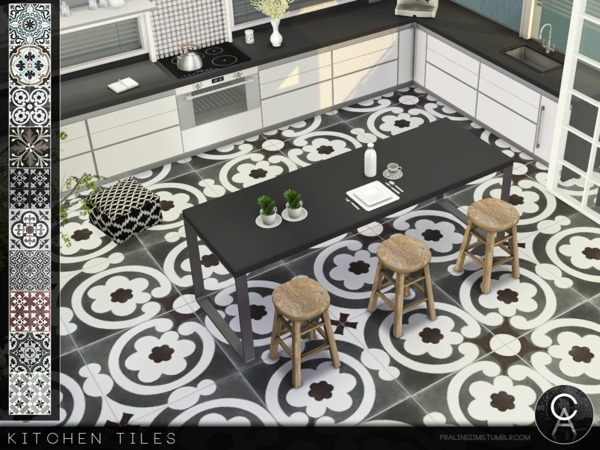Sims 4 Kitchen Floor Tiles by Pralinesims at TSR