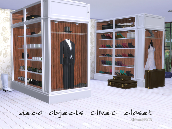 Sims 4 Bedroom Closet CliveC Deco by ShinoKCR at TSR