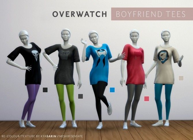 Sims 4 Overwatch Boyfriend Tee/Dress by Kya Sarin at Mod The Sims