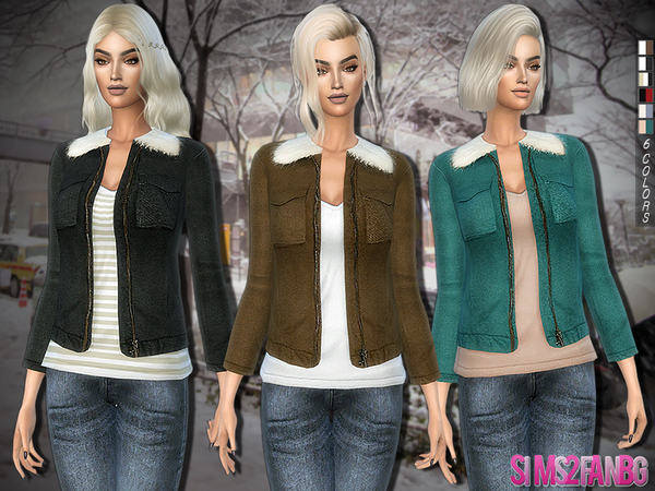 Sims 4 252 Jacket with soft faux fur collar by sims2fanbg at TSR