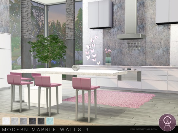 Sims 4 Modern Marble Walls 3 by Pralinesims at TSR