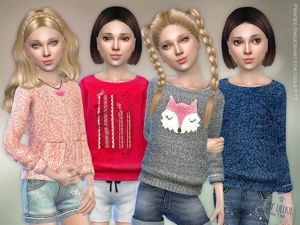 Sims 4 Printed Sweatshirt for Girls P17 by lillka at TSR