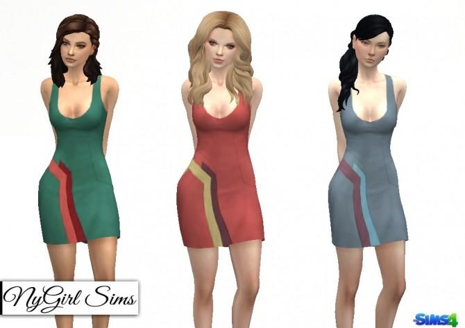 Sims 4 Color Block Panel Mini Dress at NyGirl Sims