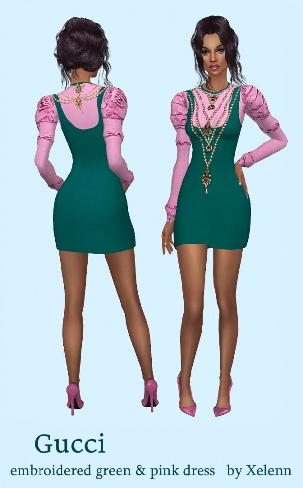 Sims 4 Embroidered green&pink dress at Xelenn