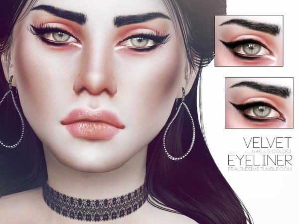 Sims 4 Velvet Eyeliner N46 by Pralinesims at TSR