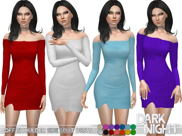 Sims 4 Off Shoulder Side Split Dress by DarkNighTt at TSR