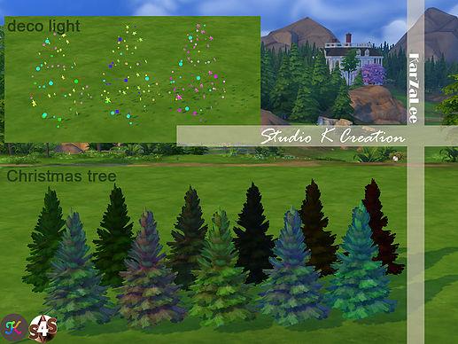 Sims 4 Christmas tree with decor light set at Studio K Creation