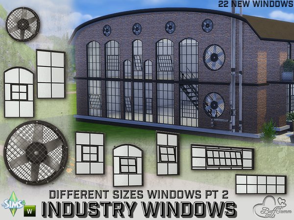 Sims 4 Industry Windows for All Wall Sizes Pt. 2 by BuffSumm at TSR
