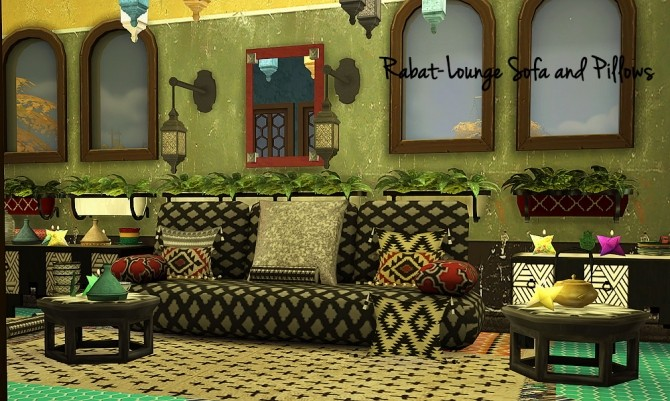Sims 4 Rabat Lounge Morocco Set at Tkangie – Armchair Traveler