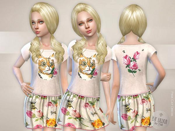 Sims 4 Pink Cat Dress by lillka at TSR