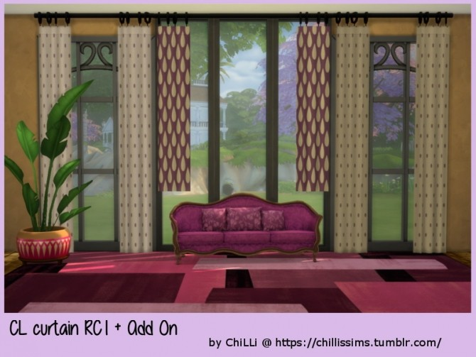 Sims 4 CL curtain RC1 + Add On at ChiLLis Sims