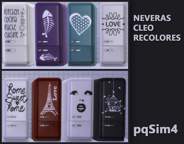 Sims 4 Cleo refrigerator recolors by Mary Jiménez at pqSims4