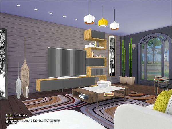 Sims 4 Sonoma Living Room TV Units by ArtVitalex at TSR