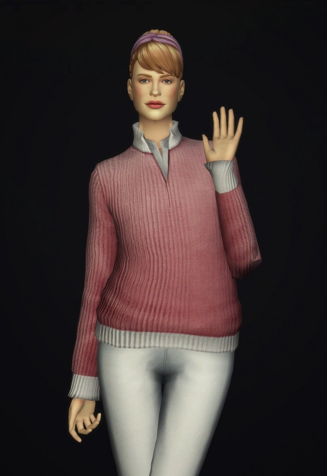 Women Half Zip Mock Neck Sweater At Rusty Nail 187 Sims 4