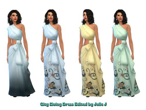 Sims 4 City Living Female Formal Dress Edited at Julietoon – Julie J