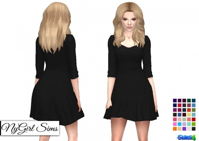 Sims 4 Scoop Neck Skater Dress at NyGirl Sims