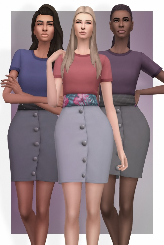 EP03 High Waisted Skirt With Tee at Busted Pixels image 931 667x1000 Sims 4 Updates