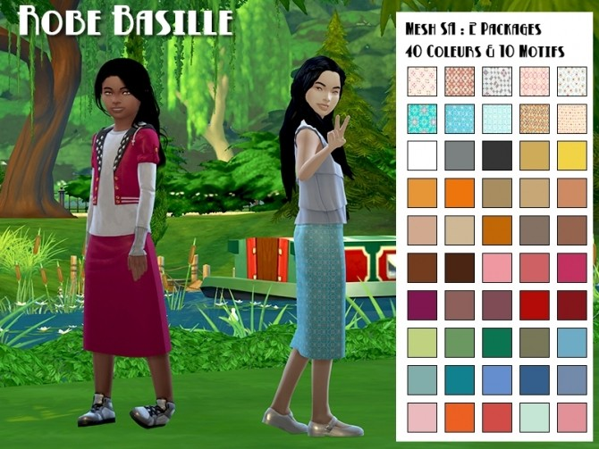 Sims 4 Basille skirt by Fuyaya at Sims Artists