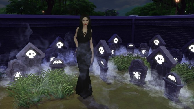 Sims 4 Addams long evening dress by Annabellee25 at SimsWorkshop
