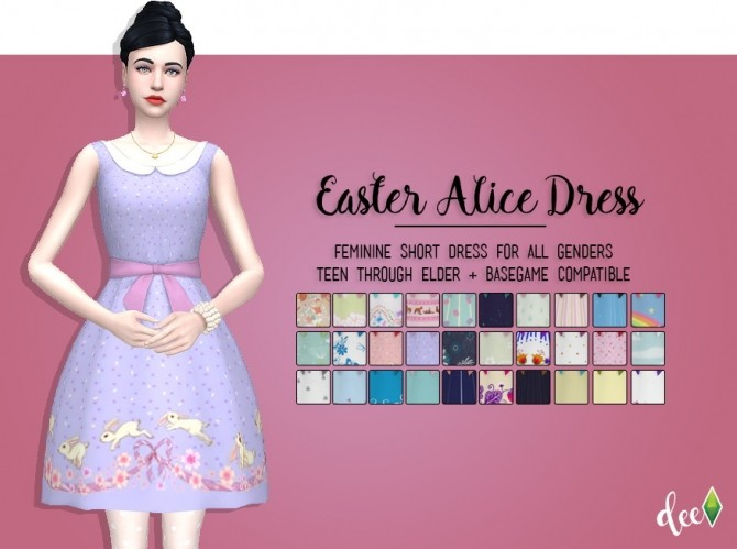 Sims 4 Easter Alice Dress at Deetron Sims