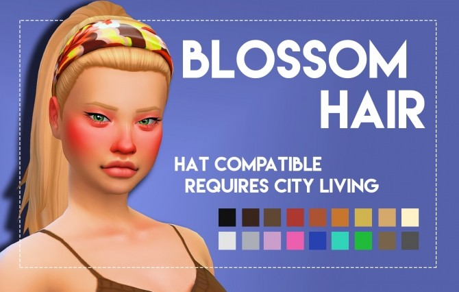 Sims 4 Blossom Hair Onyx Variant by Weepingsimmer at SimsWorkshop