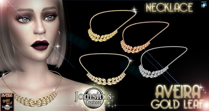Sims 4 Aveira gold leaf necklace at Jomsims Creations