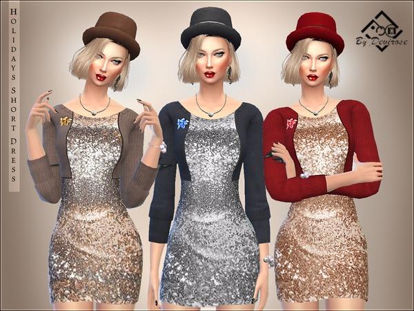 Sims 4 Holidays Short Dress by Devirose at TSR