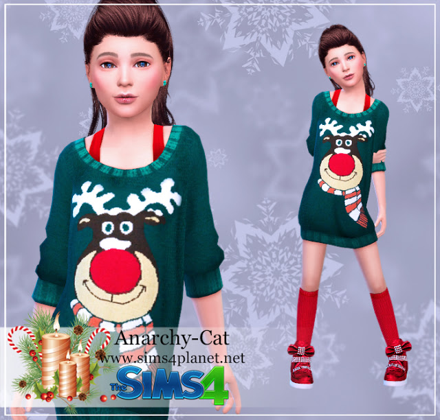 Christmas reindeer dress #10 at Anarchy Cat image 1038 Sims 4 Updates