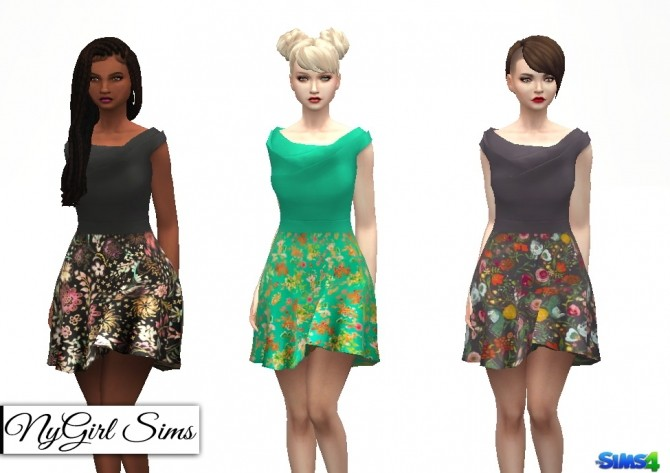 Sims 4 Origami Flare Dress with Floral Skirt at NyGirl Sims