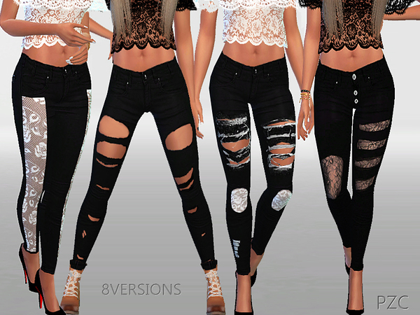 Sims 4 Winter black ripped jeans collection by Pinkzombiecupcakes at TSR
