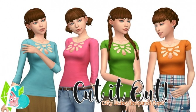 Sims 4 Cut it Out Tops at SimLaughLove