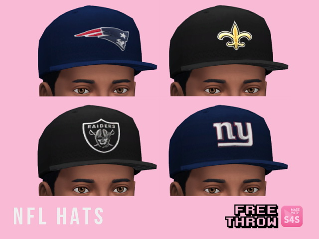 Sims 4 Repost and Updated NFL Hats at CC freethrow