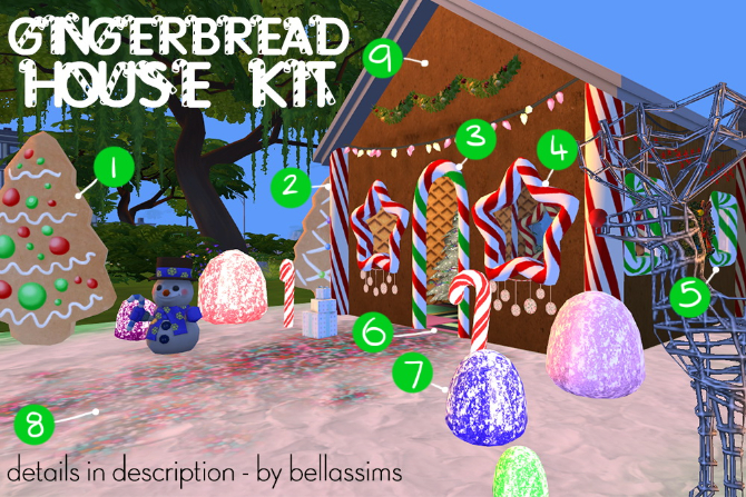 Gingerbread house kit at Bellassims image 1109 Sims 4 Updates