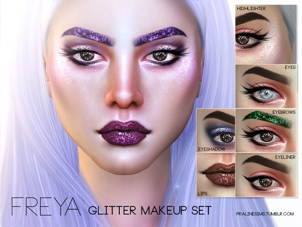 Freya Glitter Makeup Set by Pralinesims at TSR image 1115 Sims 4 Updates