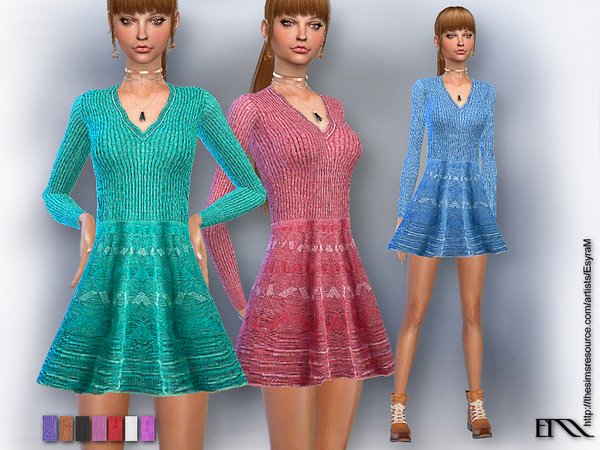 Sims 4 Missoni embroidered knit dress by EsyraM at TSR