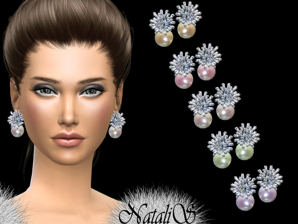 Frozen pearl earrings by NataliS at TSR image 1140 Sims 4 Updates