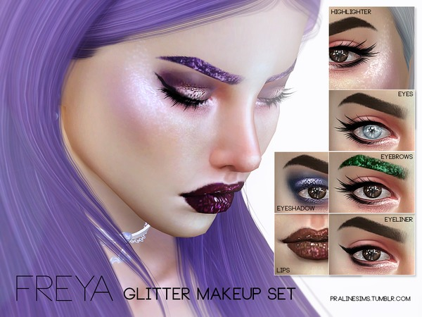 Freya Glitter Makeup Set by Pralinesims at TSR image 1214 Sims 4 Updates
