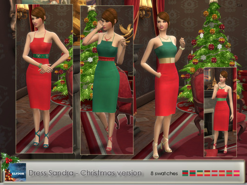 Sims 4 Sandra Dress Party and Christmas version at Elfdor Sims