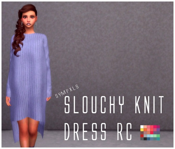 Sims 4 Slouchy Knit Dress RC by Sympxls at SimsWorkshop