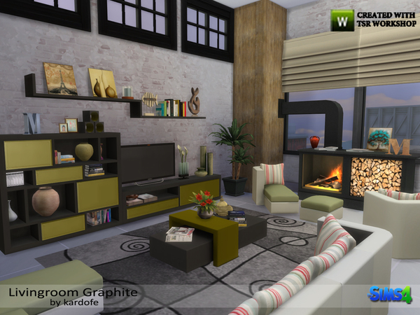 Livingroom Graphite by kardofe at TSR image 1248 Sims 4 Updates