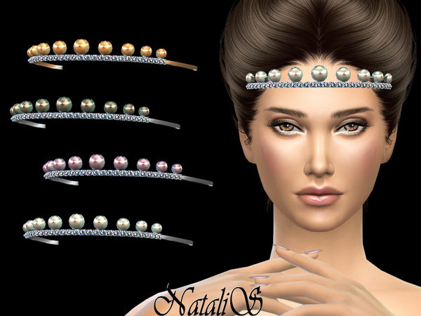 Tiara with pearls and crystals by NataliS at TSR image 13 Sims 4 Updates