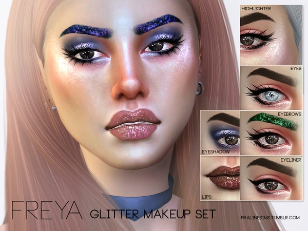 Freya Glitter Makeup Set by Pralinesims at TSR image 1311 Sims 4 Updates