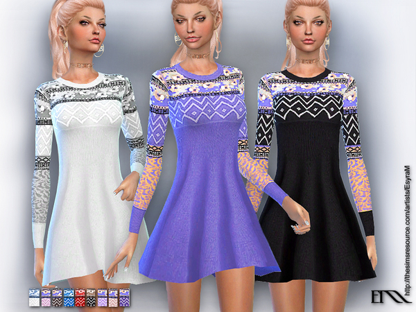 Embroidered knit dress by EsyraM at TSR image 1313 Sims 4 Updates