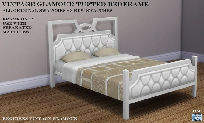 Vintage Glamour Tufted Bedframe by OM at Sims 4 Studio image 1321 670x403 Sims 4 Updates